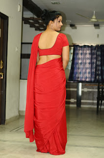 Actress Apoorva Picture Gallery in Red Saree 0021