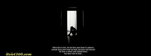 Ảnh bìa Facebook thất tình - Cover FB timeline lost love, boy girl buồn gục đầu trong căn phòng tối