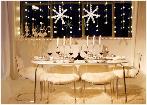 WHITE CHRISTMAS CENTERPIECES DINING ROOM DECORATION
