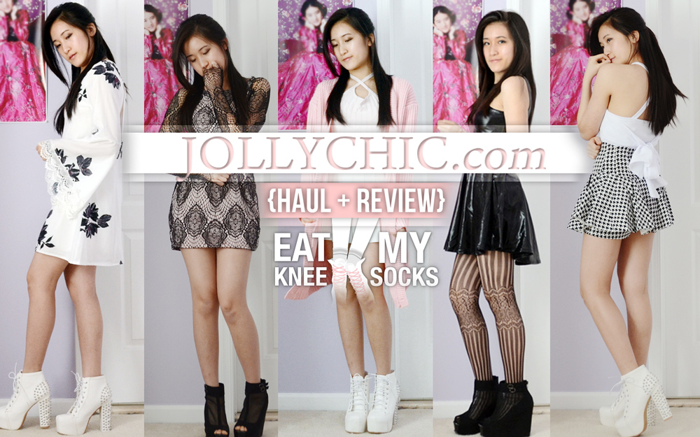 Eat My Knee Socks intro photo for the 3rd JollyChic fashion haul, featuring dupes of Black Milk, Stylenanda, Free People, Nastygal, and For Love & Lemons.