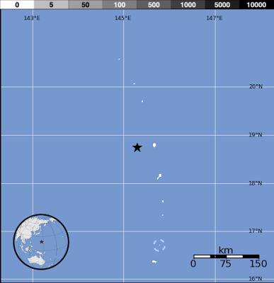 Epicentro sismo 6,8 grados en islas Marianas, 13 de Mayo de 2013