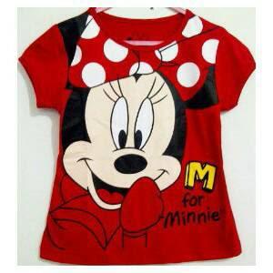 Baju Anak Karakter Minie Mouse Merah Size 1 - 6 Tahun