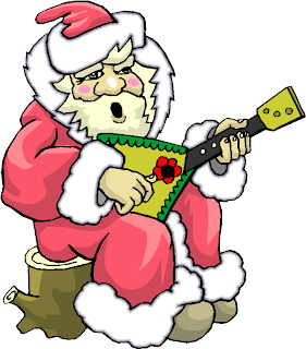 Santa Play Guitar Clipart