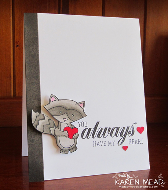 Clean and Simple Raccoon Love Card by Karen Mead | Stamps by Newton's Nook Designs