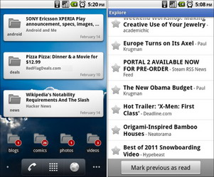 Google Reader Android app updated with 2 new widgets, Mark previous as read, and official Russian translation