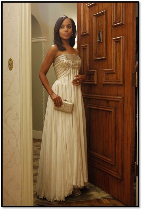 Robe Jean Fares couture gown Olivia Pope Scandal ABC robe de gala dorée vestale