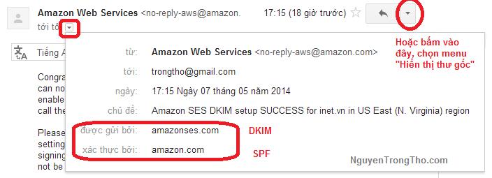 Xem Amazon SES DKIM va Spf