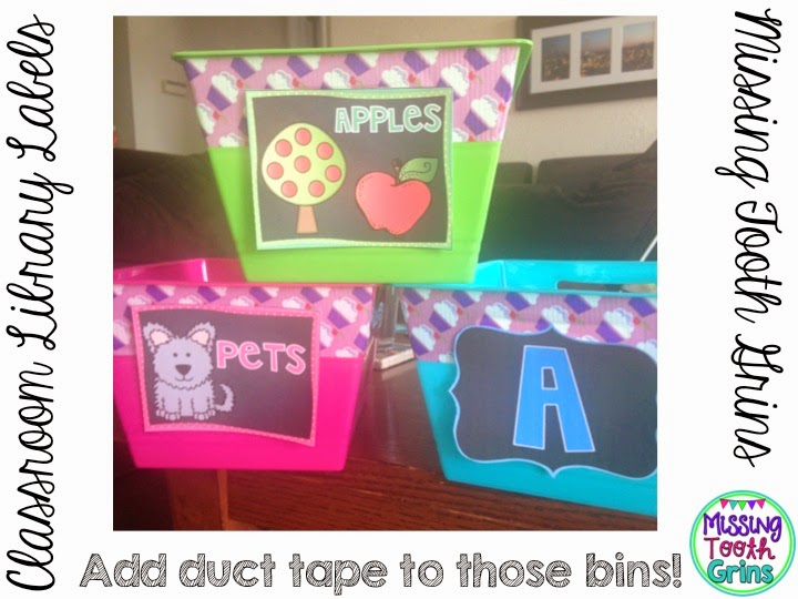 Make your classroom library bins really stand out by adding duct tape