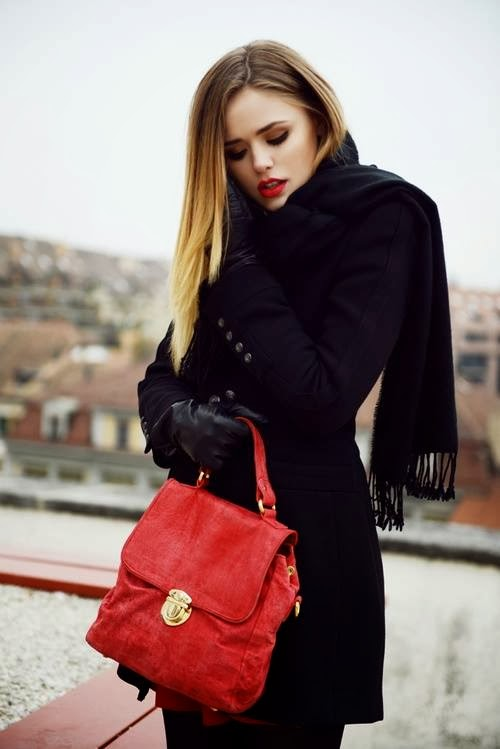 Stylish Small Red Handbag with Red Lipstick and  Black Leather Gloves and Coat