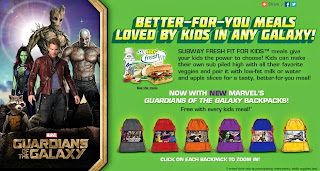 Guardians of the Galaxy backpacks at Subway