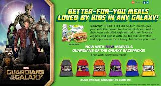 Guardians of the Galaxy backpacks at Subway