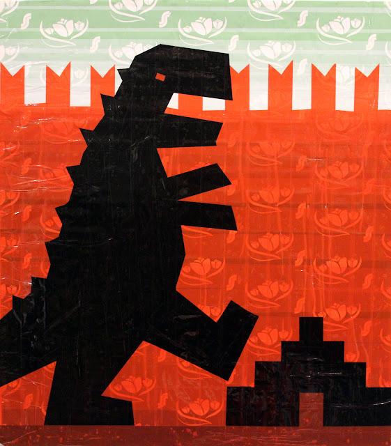 tape art tapeart Moscow Kremlin  Lenin Godzilla мавзолей t-rex