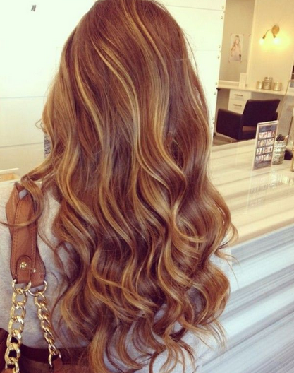 Syle rambut panjang Ombre warna Dark Brown tampak belakang