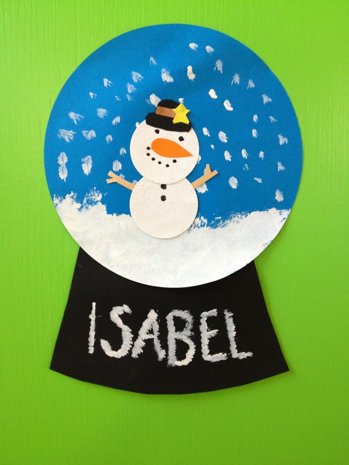 Klassenkunst schneekugeln aus papier - Kindergarten weihnachtsbasteln ...
