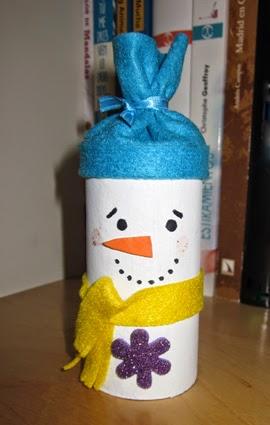 Muñeco de nieve con rollo de papel higiénico