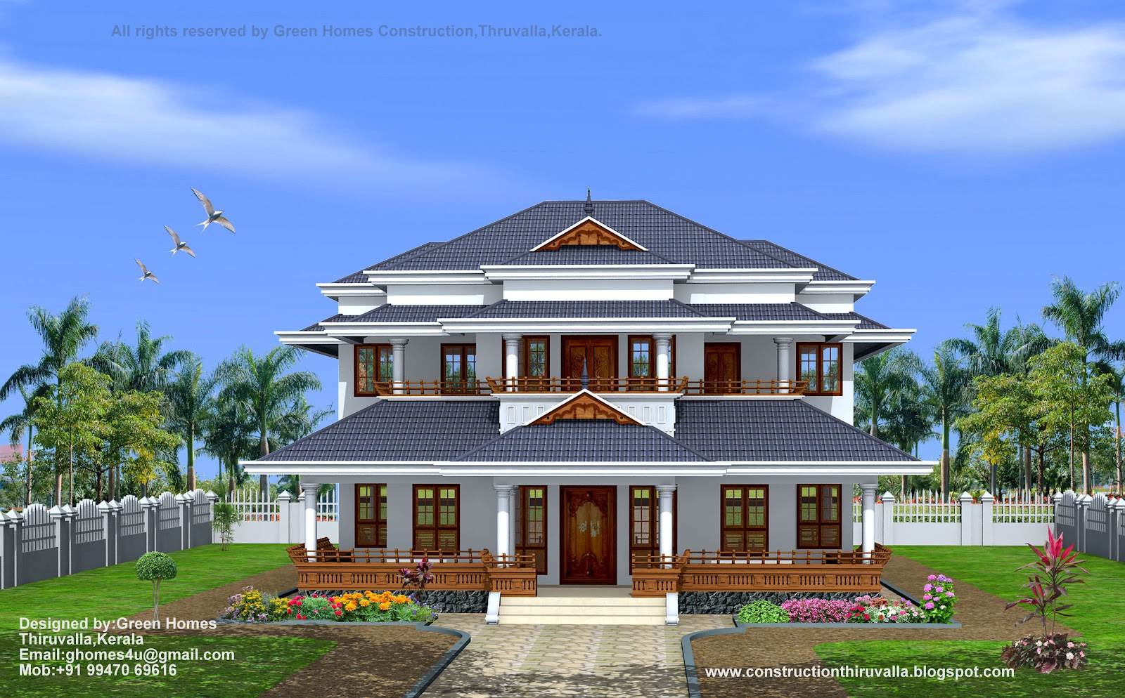 Green homes traditional style kerala home design 3450 sq feet for Home construction design
