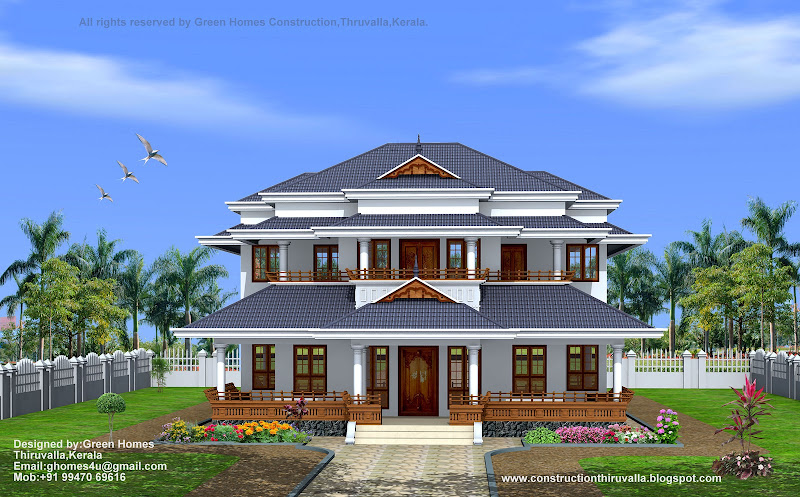 3450 sq feet traditional style home designed by green homes thiruvalla  title=