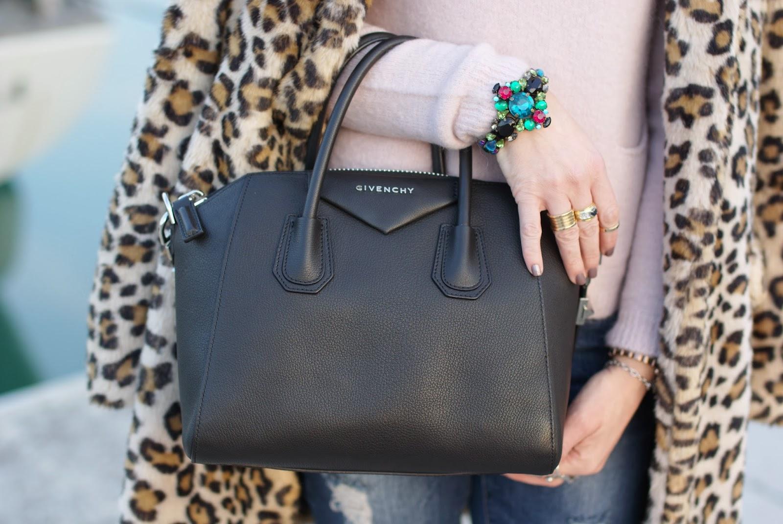 mercantia bracelet, leopard faux fur coat, Dior destin, BVLGARI BZero ring, givenchy antigona bag, fashion and cookies, fashion blogger