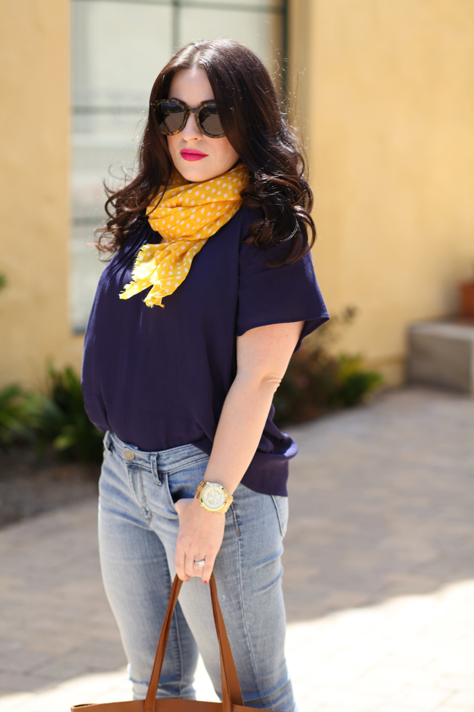 cuyana-tote-fraas-yellow-polka-dot-scarf-le-tote-top-mac-girl-about-town-lipstick-michael-kors-watch-karen-walker-super-duper-strength-sunglasses-king-and-kind-fashion-blog-loft-denim