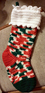 Shades of Safhire - Crocheted Christmas Stocking