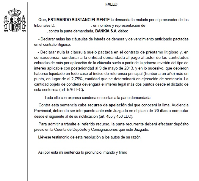Otras dos cl usulas suelo anuladas en canarias recuperando for Hipoteca suelo bankia