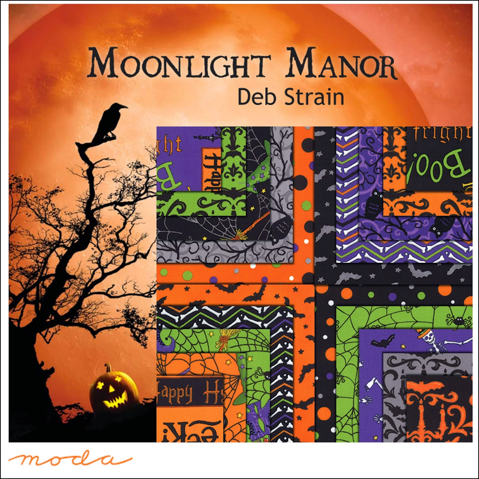 Moda MOONLIGHT MANOR Halloween Quilt Fabric by Deb Strain for Moda Fabrics