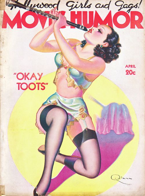 scantily clad girl with clarinet - 1937 magazine cover - Hollywood Girls and Gags, Movie Humor, Okay Toots