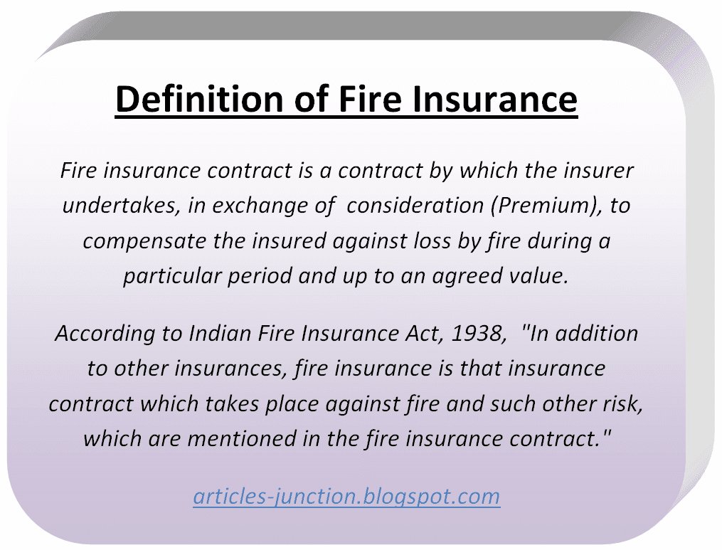 Definition of Fire Insurance
