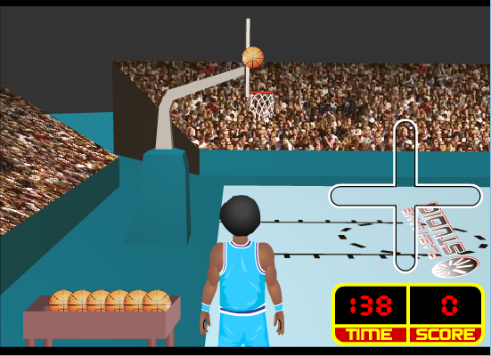 Try to score as many baskets as you can from the three points line. Pressing the spacebar helps you to shoot.