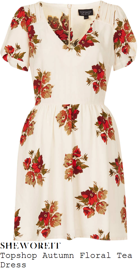 holly-willoughby-cream-and-orange-floral-print-v-neck-dress