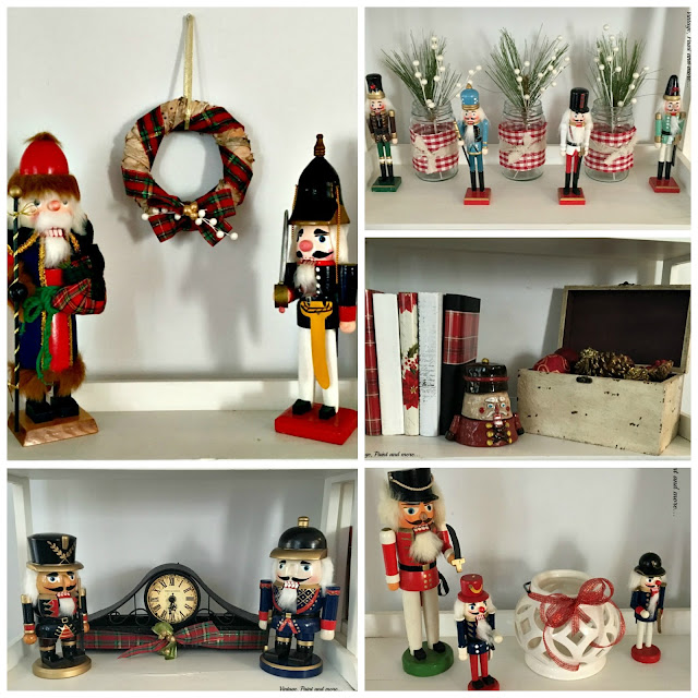 nutcracker collection displayed with vintage and diy items for Christmas