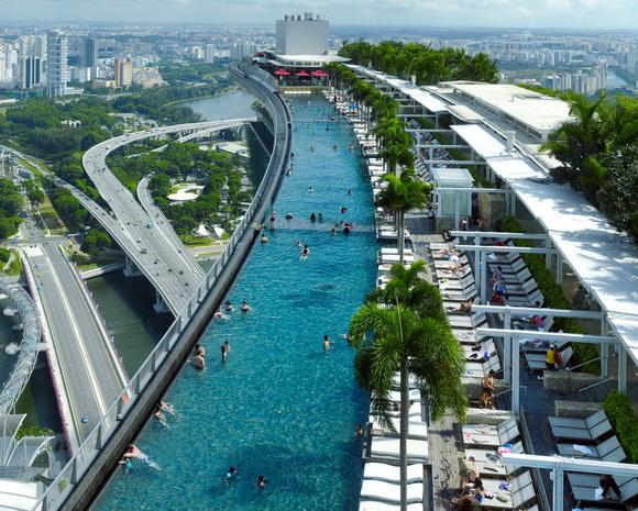 Skyscrapper marina bay sands skybridge singapore - Singapur skyline pool ...