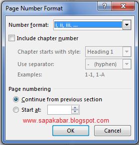 Format nomor halaman dengan angka romawi
