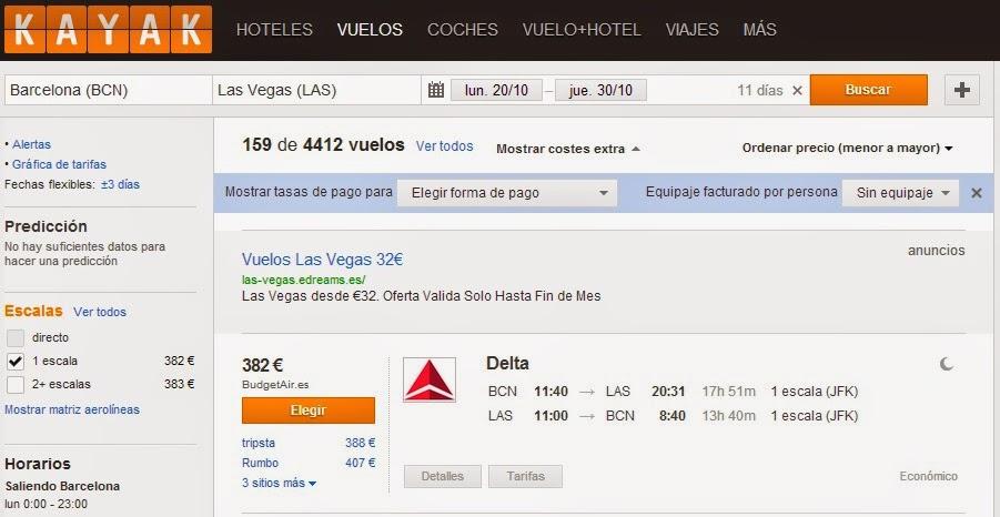 Vuelos baratos a Las Vegas desde Barcelona