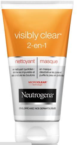 masque visage neutrogena, nettoyant visage , anti points noirs, visibly clear