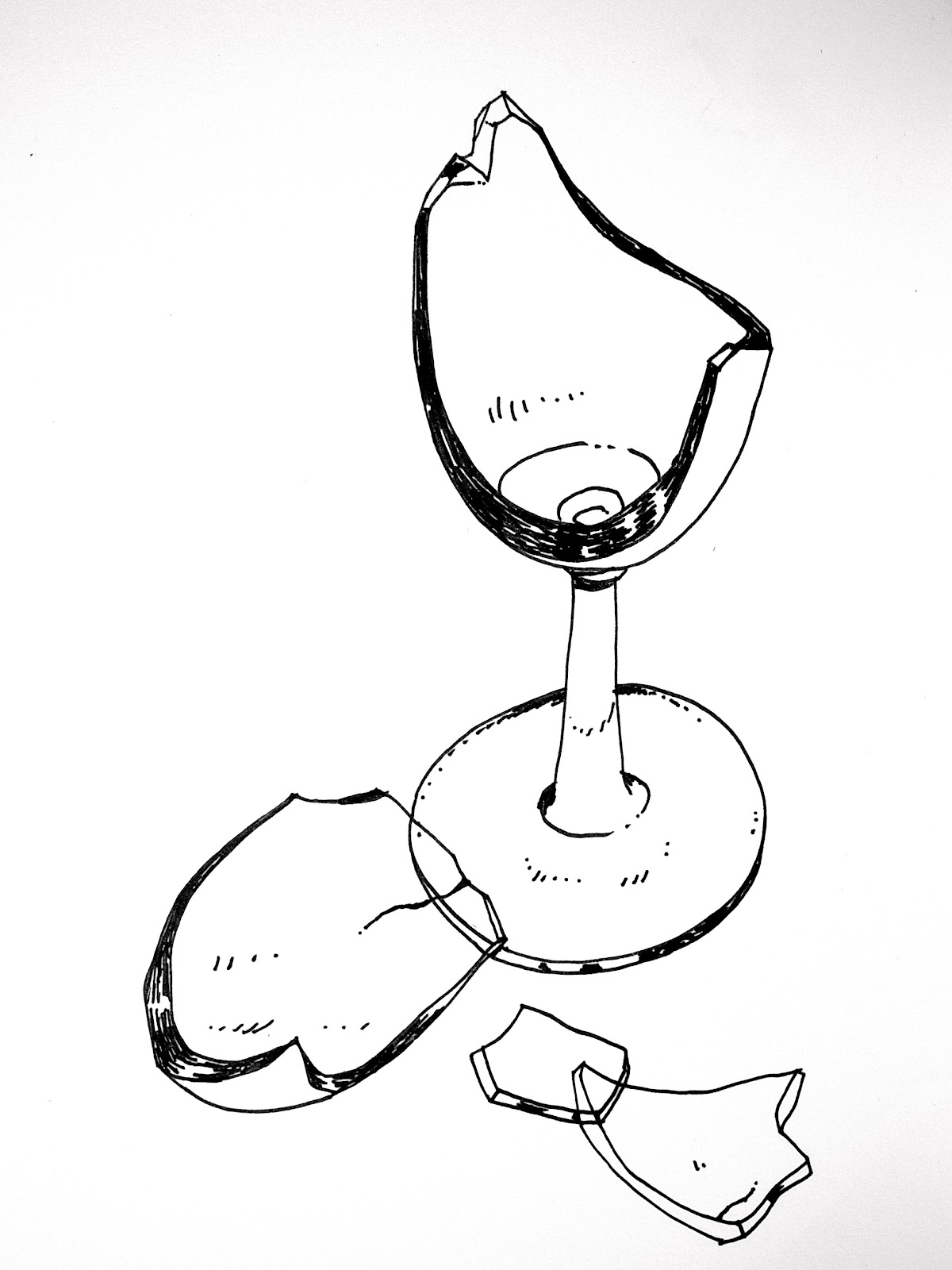 Broken Glass Cup Drawing