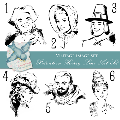 Line Art History : Rosehaven cottage studio freebie vintage image set