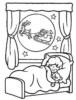 Santa en su trineo en navidad para colorear