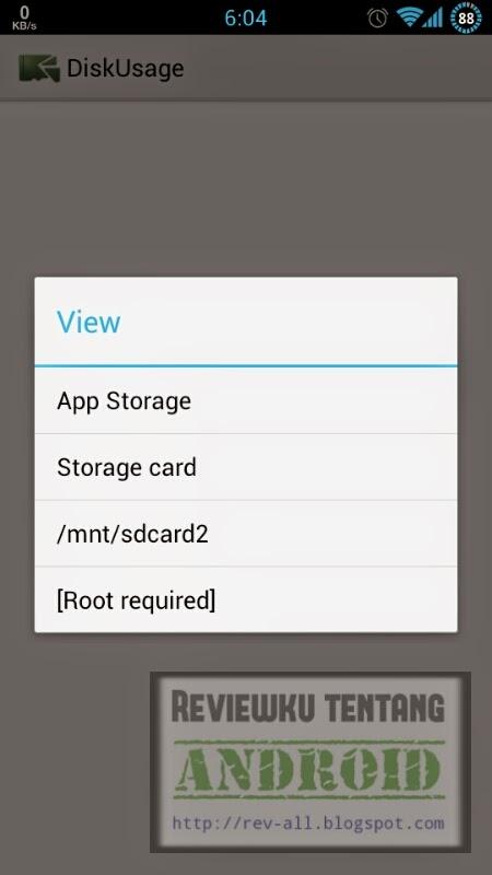 Tampilan utama DISKUSAGE versi 3.4.3 - aplikasi android untuk menganalisis penggunaan memori internal dan eksternal (rev-all.blogspot.com)
