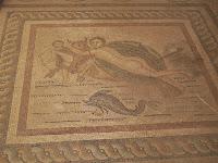 Mosaico procedente de la Casa de Europa. Yacimiento arquiológico de  Kos (detalle)