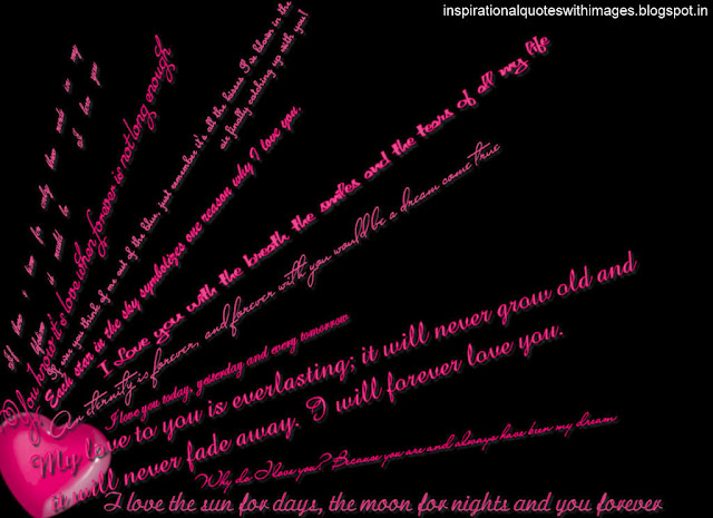 lovw quotes pink heart with wall paper
