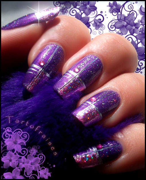 Striped Purple Nail Designs