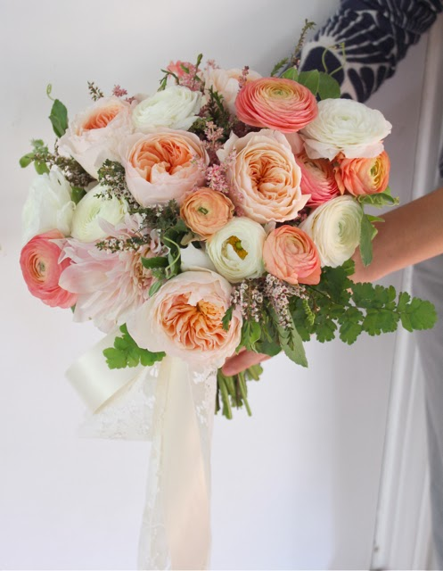 rustic blush brides bouquet for dearborn inn detroit wedding by sweet pea floral design ranunculus garden rose passionflower vine astilbe maidenhair fern peach coral blush ivory lace mercury glass dearborn inn