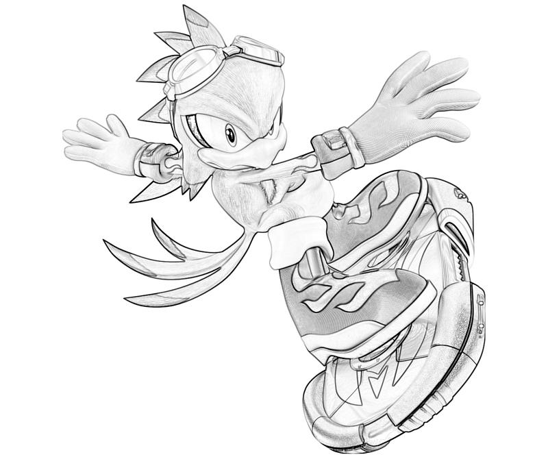 Sonic Generations Jet The Hawk Speed Coloring Pages title=