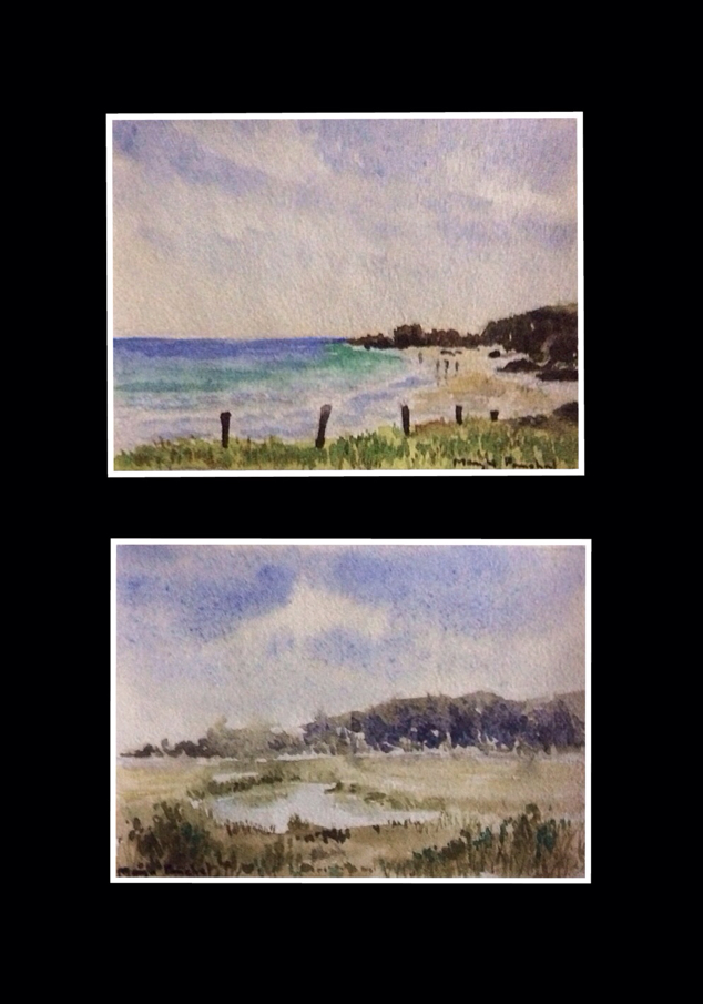 Mini water colour painting of a Landscape and a seascape by Manju Panchal