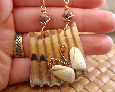 Sea shell butterfly pendant on copper chain handcrafted by shore debris on etsy