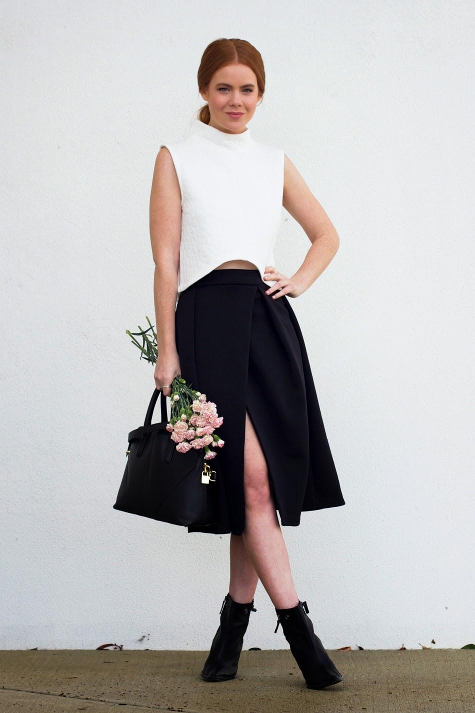 Huntr label, Tibi boots, ASOS midi skirt, Zara bag, flowers