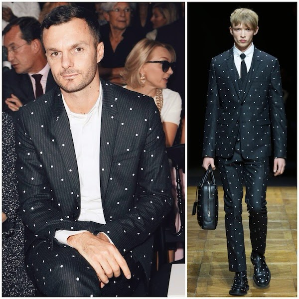 Kris Van Assche wears Dior Homme Fall Winter 2014 polka dot embroidered suit to Christian Dior Spring Summer 2015 show