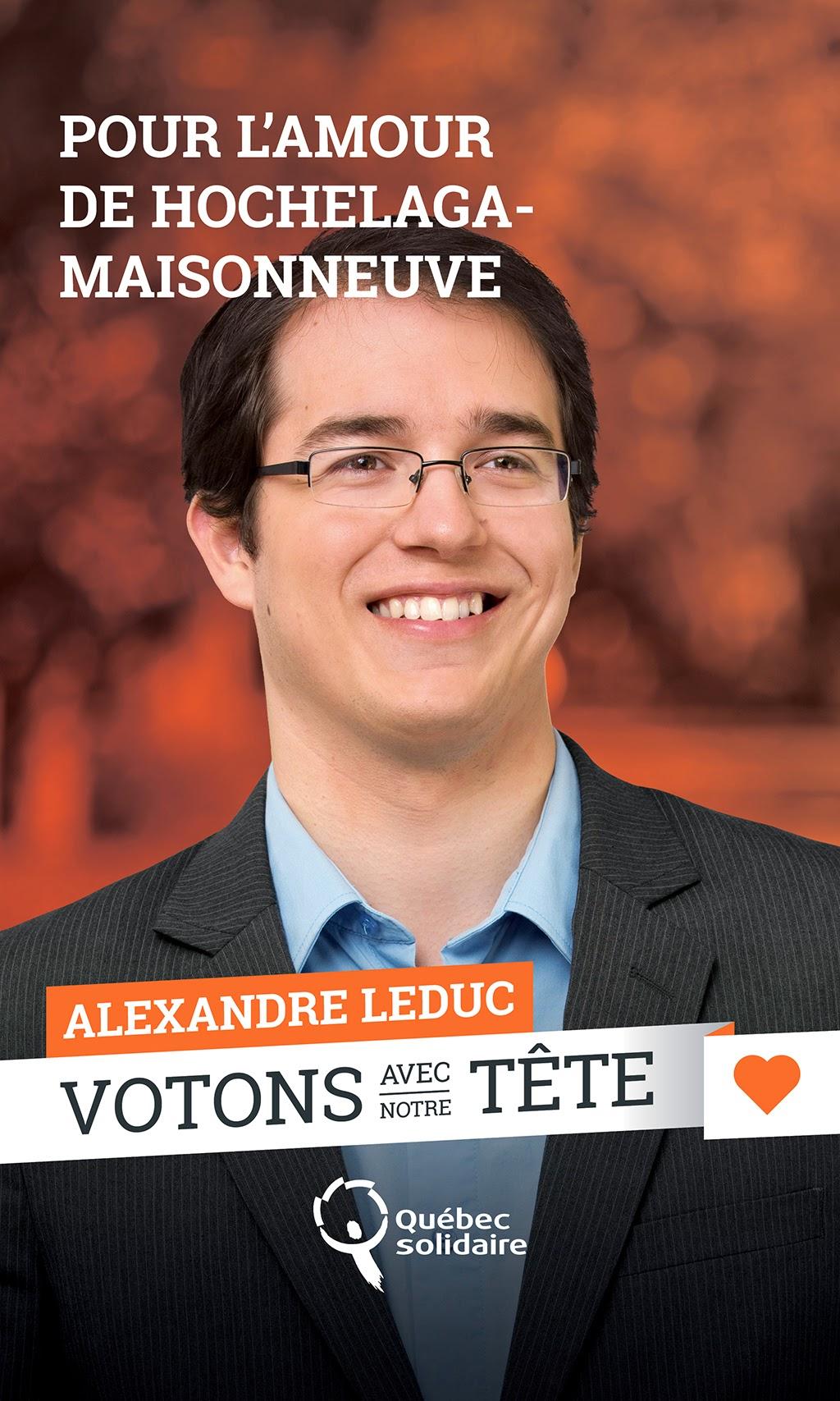 Alexandre Leduc -  QS, 2014, campagne électorale, provinciale