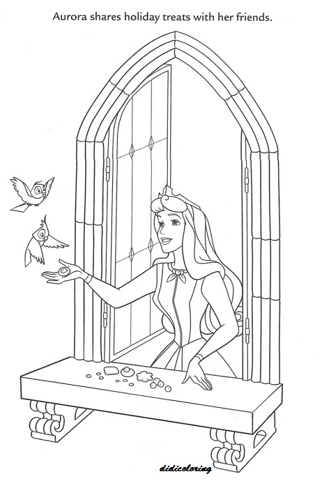 Printable Walt Disney Princess Aurora Shares Holiday Treat With Her Friends Feeding Birds Coloring Page For Girls